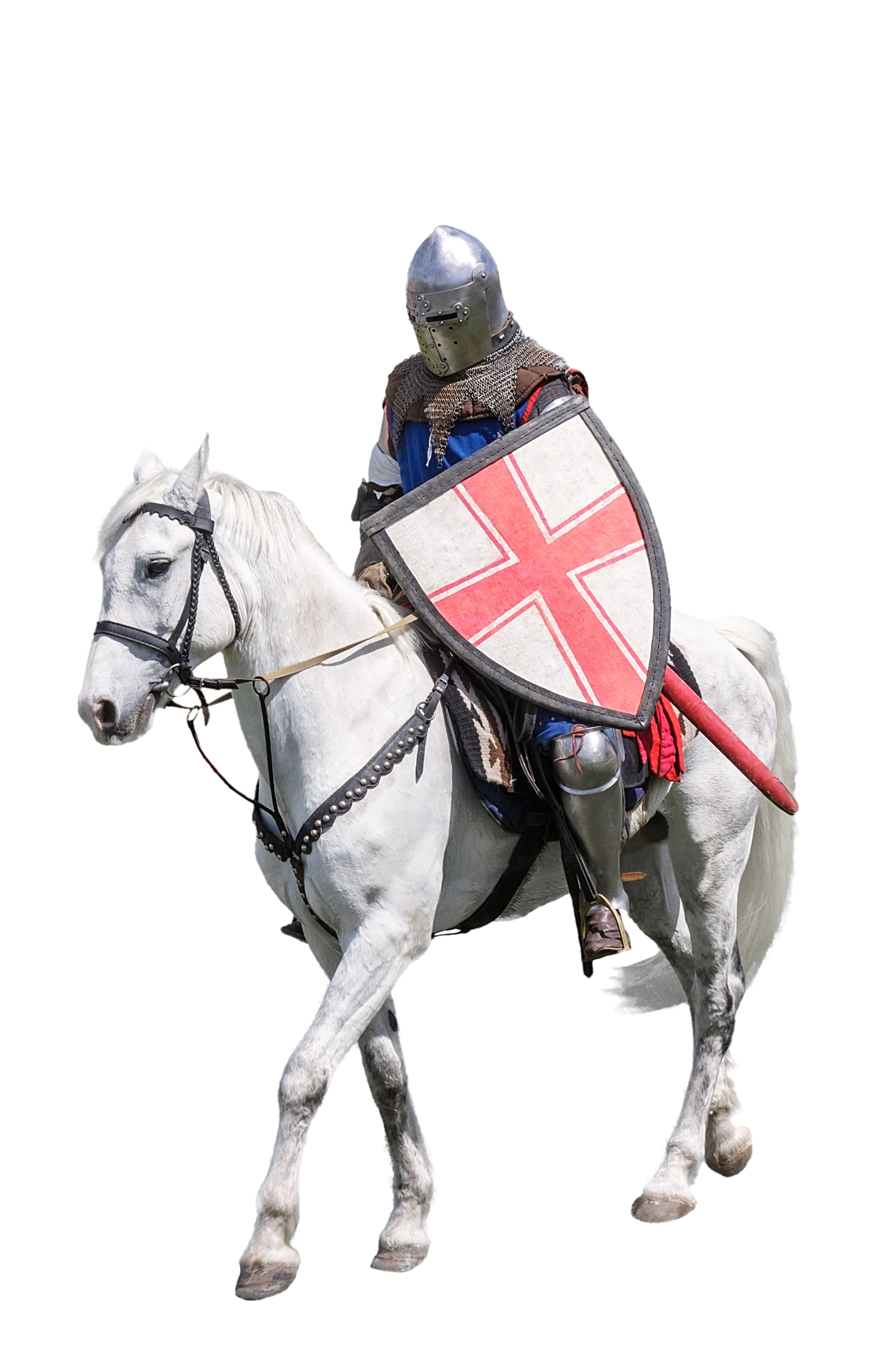 Armoured knight on white warhorse